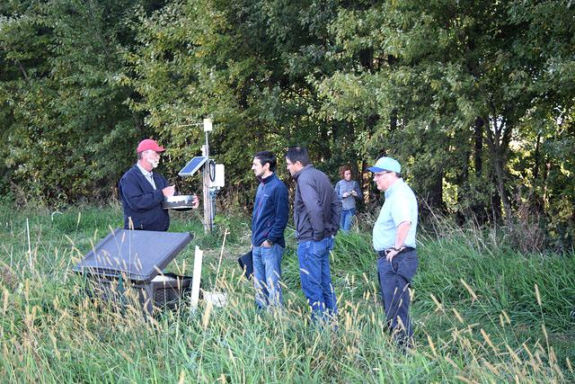 Dan Jaynes discussing greenhouse gas measurements at Bear Creek saturated buffer site - Reinhart,Ben