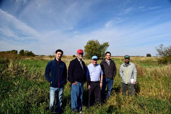Giorgi Chighladze, Dan Jaynes, Chris Hayes, Matt Helmers, and Ben Reinhart at Maass Farm saturated buffer - Abendroth, Lori