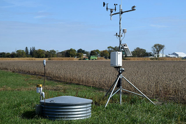 Monitoring well and weather station at Iowa Southeast Research Farm.