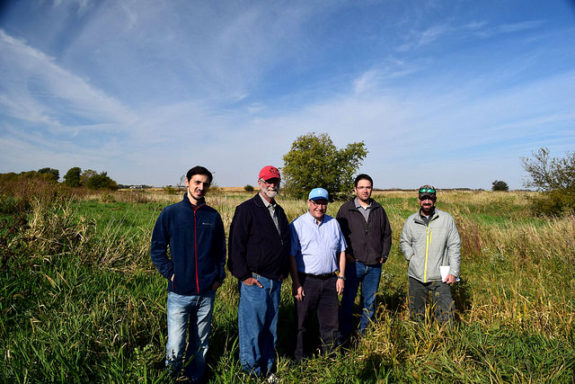Giorgi Chighladze, Dan Jaynes, Chris Hayes, Matt Helmers, and Ben Reinhart at Maass Farm saturated buffer - Abendroth, Lori